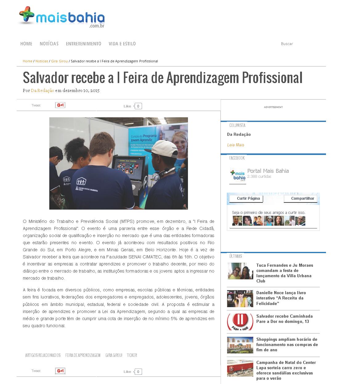 Salvador recebe a I Feira de Aprendizagem Profissional - Mais Bahia - Mais Bahia