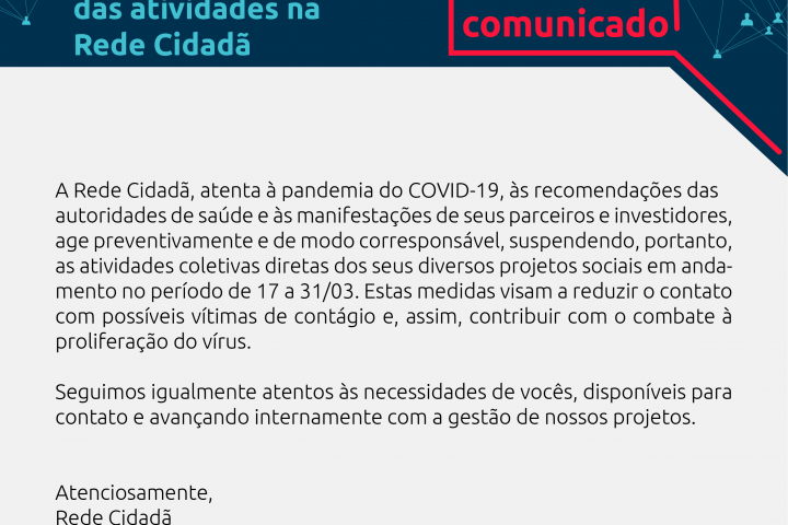 Importante: Rede Cidadã em recesso por causa do coronavírus
